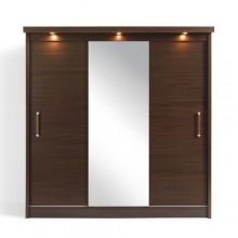 Платяной шкаф с раздвижными дверьми и встроенной подсветкой